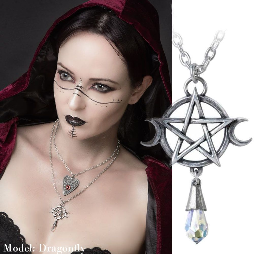 ALCHEMY GOTHIC Goddess Triple Moon Pentacle Necklace